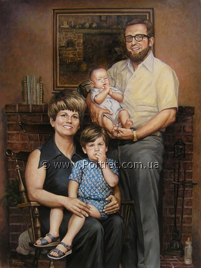 Family portrait. Oil.