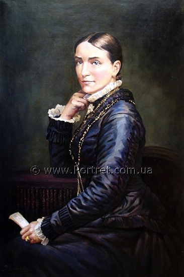 Woman's portrait from old-time photo. Oil.