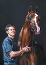 Guy with a horse. Pastel.