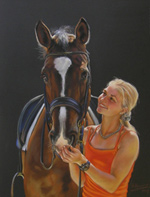 Girl with a horse. Pastel.