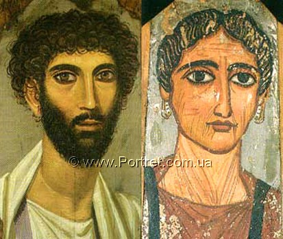 Fayum portraits of man and woman. Egypt.