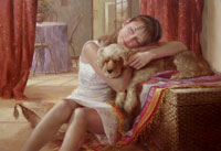Portrait of girl with a dog