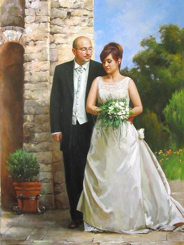 Wedding portrait. Oil on canvas.